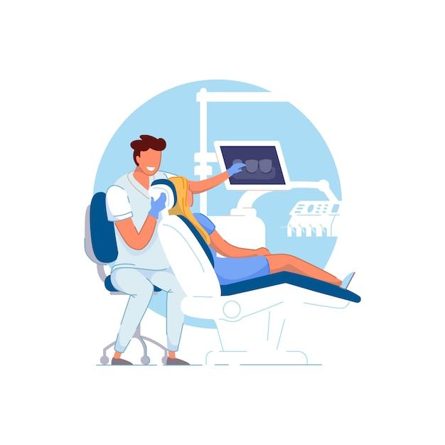 Gabinet Ortodontyczny. Lekarz Ortodonta Bada Premium Wektorów