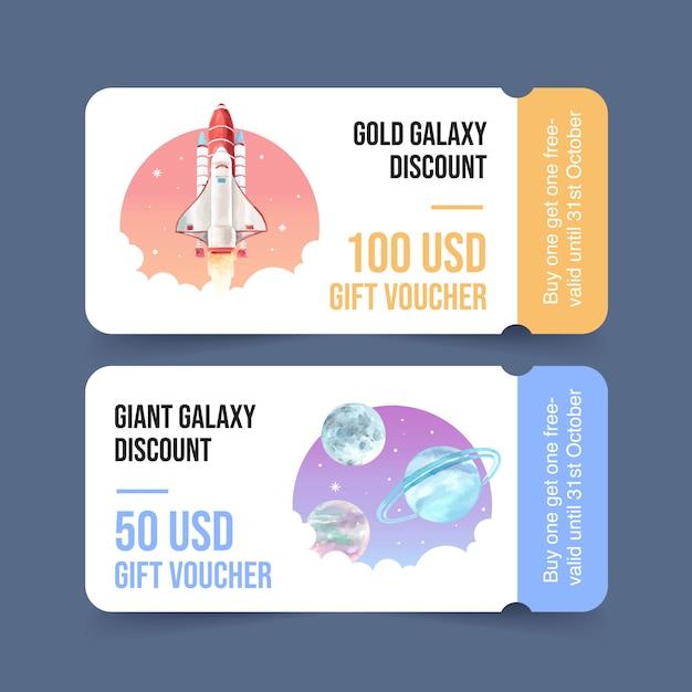 Galaktyka biletowy szablon z rakietą, planety akwareli ilustracja. Darmowych Wektorów