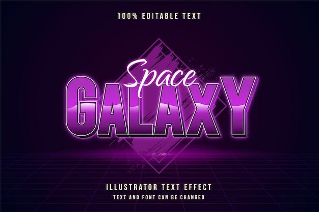 Galaktyka Kosmiczna, Edytowalny Efekt Tekstu W Stylu Neonowym Z Fioletową Gradacją Premium Wektorów
