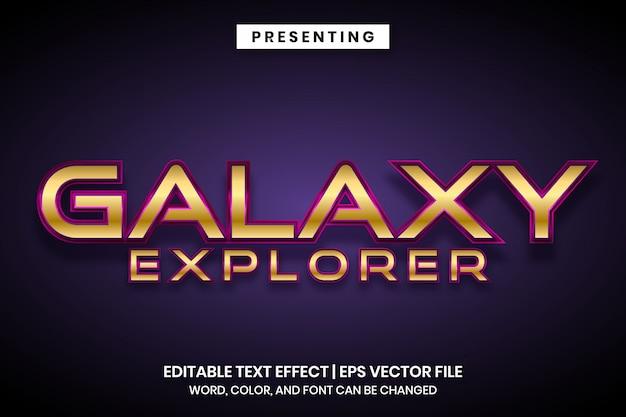 Galaxy Explorer Space Space Styl Edytowalny Efekt Tekstowy Premium Wektorów