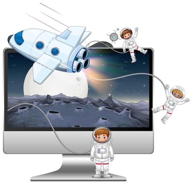 Galaxy Tło Na Ekranie Komputera Darmowych Wektorów