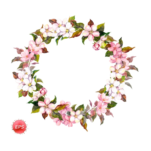 Gałęzie Kwiatu Jabłoni Lub Kwiatów Wiśni Premium Wektorów