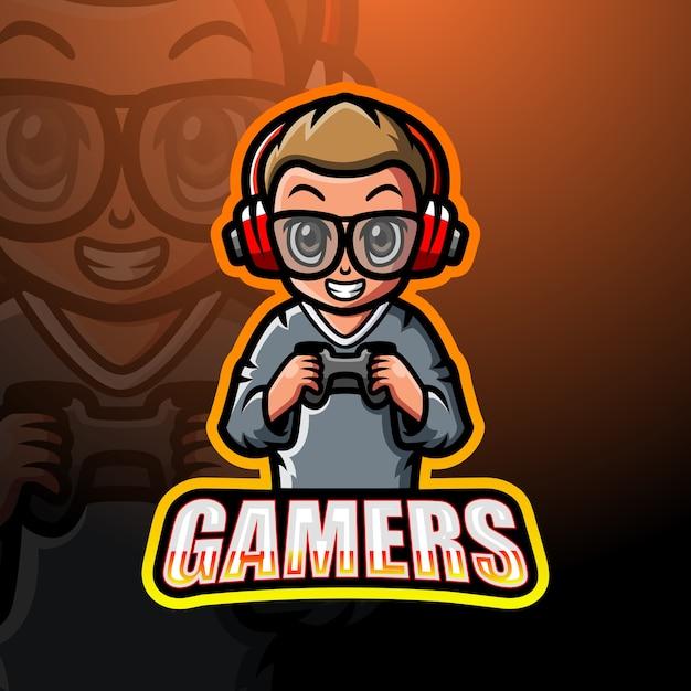 Gamer Boy Maskotka Esport Ilustracja Premium Wektorów