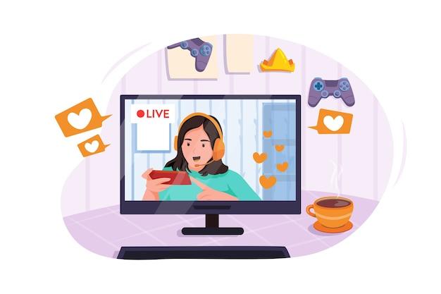 Gamer Girl Przedstawia Fanom Mobilną Grę Online Ze Smartfonem Premium Wektorów