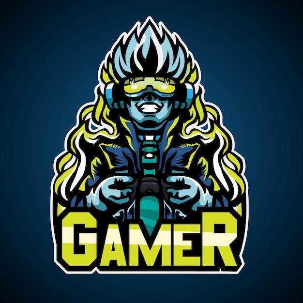 Gamer W Stylu Cyberpunkowym Premium Wektorów