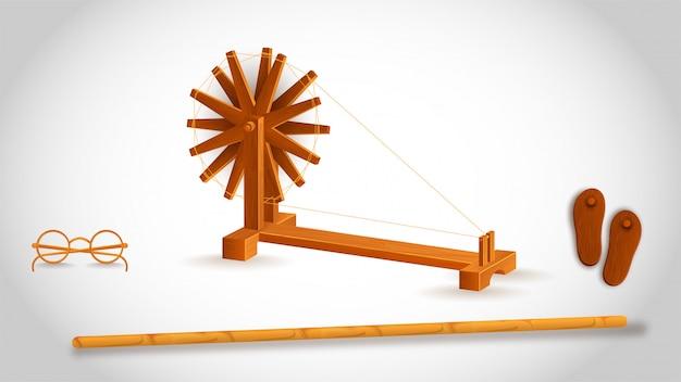 Gandhiji Użył Narzędzia Takiego Jak Drewniany Kij Z Kołowrotkiem, Okularami I Paduka (khadau) Na Białym Tle. Premium Wektorów
