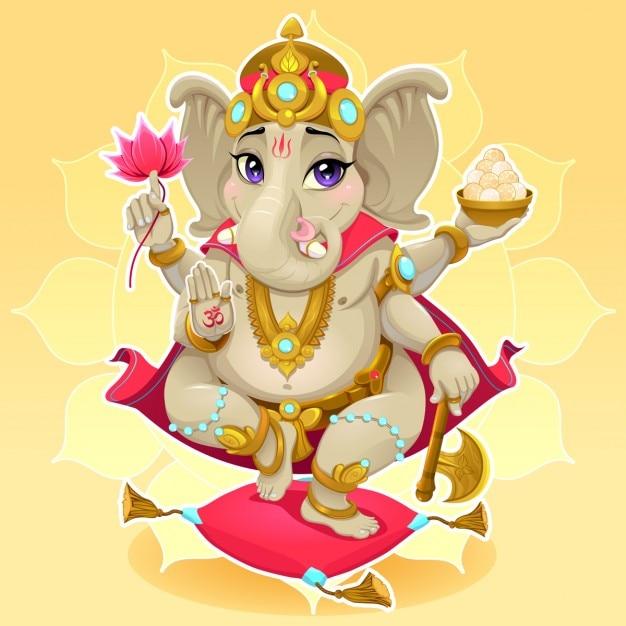 Ganesh funny reprezentacja wschodniej boga wektora kreskówki Darmowych Wektorów