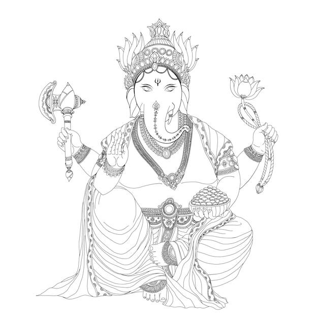 Ganesha jest bogiem sukcesu. Premium Wektorów