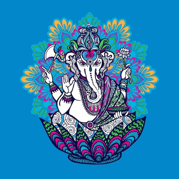 Ganesha z ozdobnym mandali Darmowych Wektorów