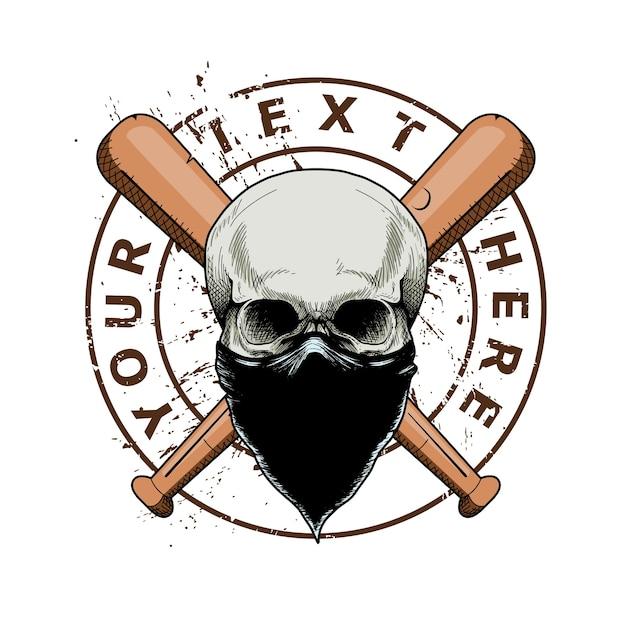 Gangster Czaszki Z Poprzecznym Kijem Baseballowym Premium Wektorów