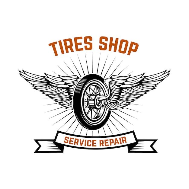 Garaż. Stacja Serwisowa. Naprawa Samochodów. Element Na Logo, Etykietę, Godło, Znak. Ilustracja Premium Wektorów