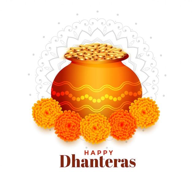 Garnek złotych monet z nagietka kwiat dhanteras tle Darmowych Wektorów