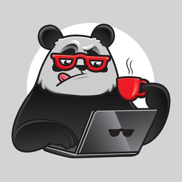Geek Panda Pracuje Z Laptopem I Kawą Premium Wektorów