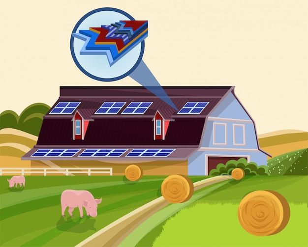 Generator Elektryczności Baterii Słonecznych Na Dachu Farmy Premium Wektorów