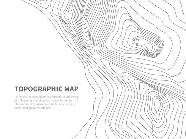 Geodezja Terenu Konturowego. Mapa Linii Topograficznej. Geograficzne Kontury Gór, Szablon Tekstowy Premium Wektorów