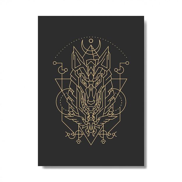 Geometria Bóg Egipt Anubis Premium Wektorów