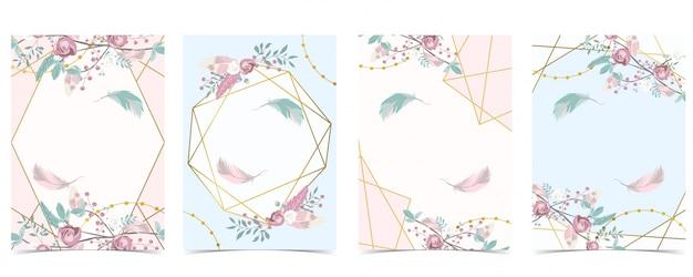 Geometria Pin Złota Karta Zaproszenie Na ślub Z Różą, Liściem, Wstążką, Wieńcem, Piórkiem I Ramką Premium Wektorów
