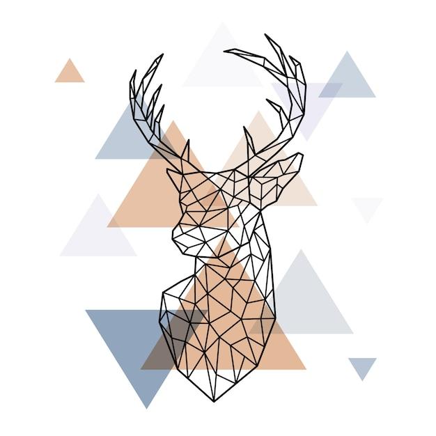 Geometryczna głowa skandynawskiego jelenia. Premium Wektorów