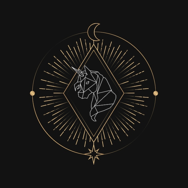 Geometryczna karta tarot astrologiczna jednorożca Darmowych Wektorów