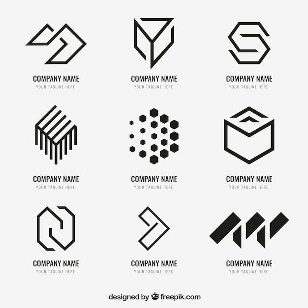 Geometryczna Kolekcja Logo Premium Wektorów
