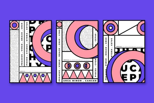 Geometryczna Kolekcja Z Czarnymi Obrysami Darmowych Wektorów