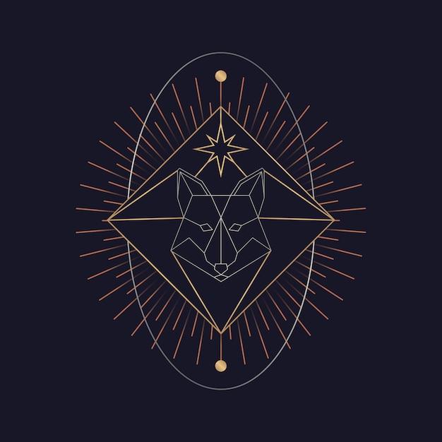 Geometryczna lis astrologiczna tarot karta Darmowych Wektorów