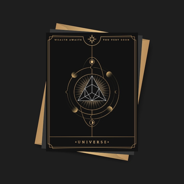 Geometryczna piramida astrologiczna karta tarota Darmowych Wektorów
