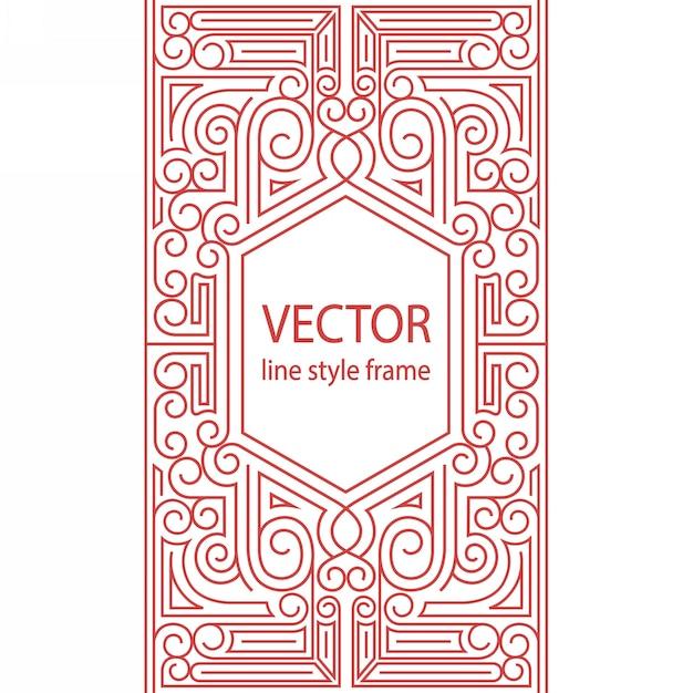 Geometryczna Rama W Stylu Liniowym - Granica Art Deco Dla Tekstu Projekt Okładki Sketchbook Premium Wektorów