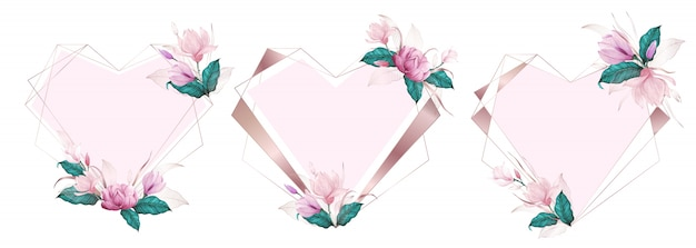 Geometryczna Rama Z Różowego Złota Serca Ozdobiona Różowym Kwiatkiem W Stylu Akwareli Darmowych Wektorów