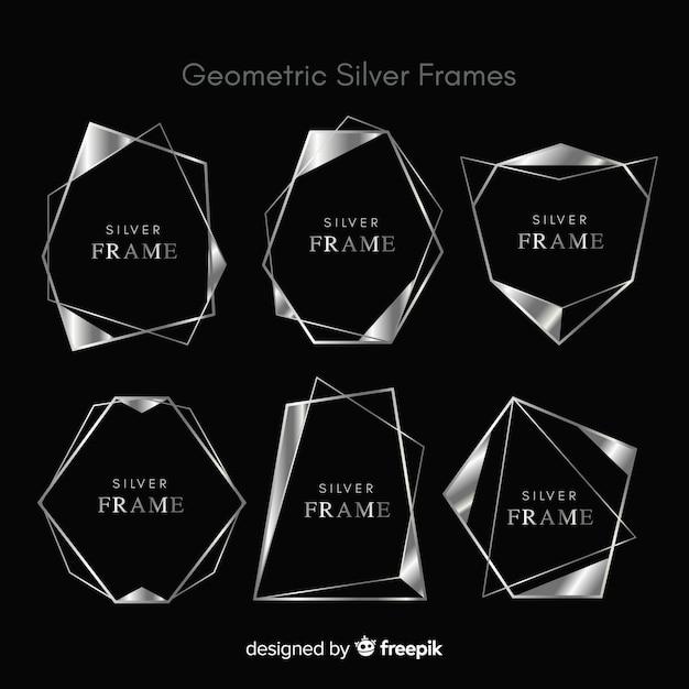 Geometryczna srebrna rama Darmowych Wektorów
