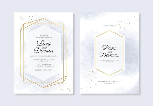 Geometryczna Złota I Akwarelowa Gąbka Na Szablon Zaproszenia ślubne Premium Wektorów