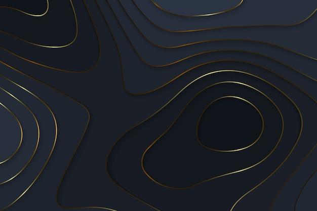 Geometryczne Cięcie Papieru Czarne Luksusowe Tło Ze Złotymi Elementami, Koncepcja Mapy Topografii. Premium Wektorów