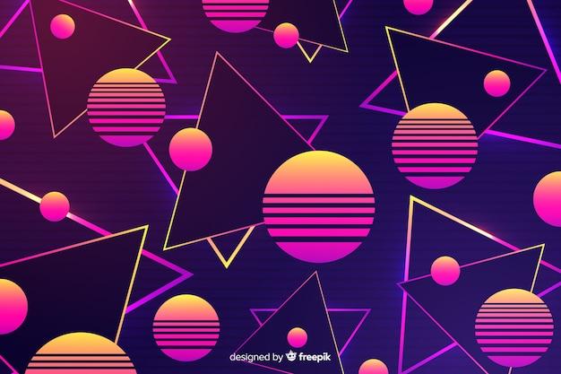 Geometryczne kolorowe tło z lat 80-tych Darmowych Wektorów