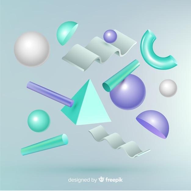 Geometryczne kształty antygrawitacyjne z efektem 3d Darmowych Wektorów