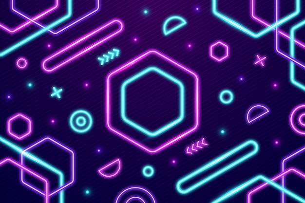 Geometryczne Kształty Neonów Tło Darmowych Wektorów
