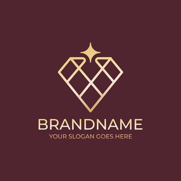 Geometryczne Logo Biżuterii Diamentowej Premium Wektorów