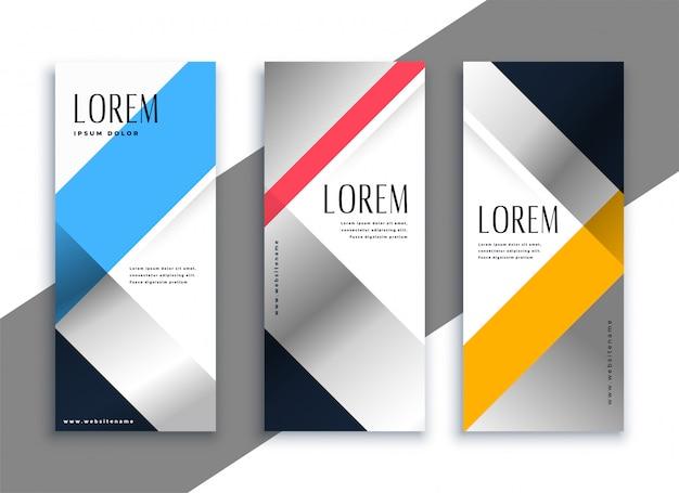 Geometryczne pionowe banery biznesu zestaw Darmowych Wektorów