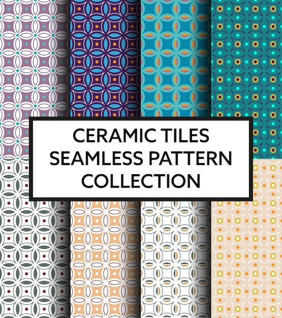 Geometryczne śródziemnomorskie płytki ceramiczne wzór kolekcji Premium Wektorów
