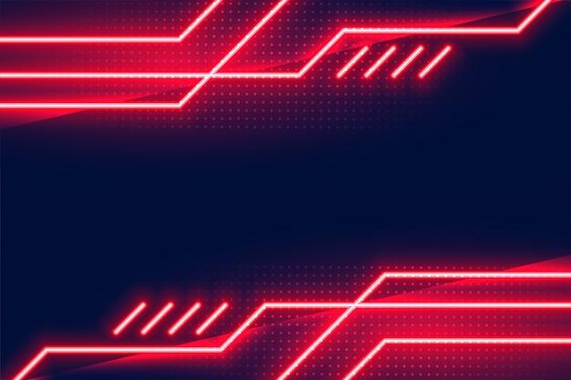 Geometryczne świecące Czerwone światła Neonowe Tło Darmowych Wektorów