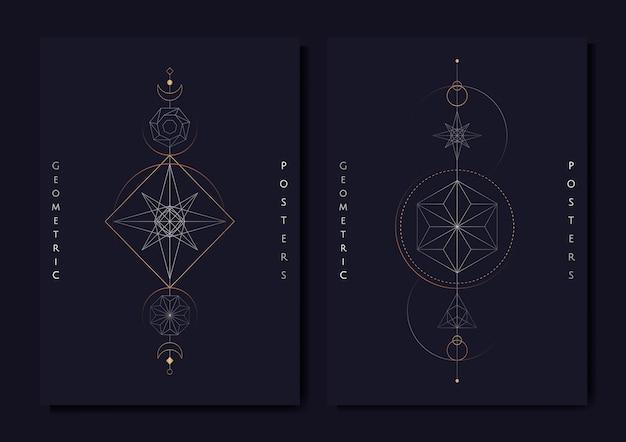Geometryczne symbole astrologiczne karty tarota Darmowych Wektorów