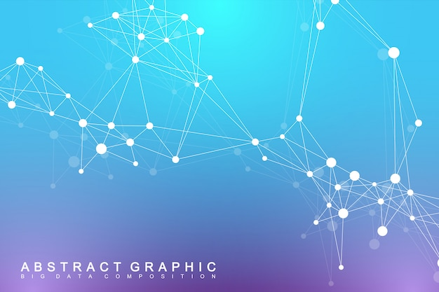 Geometryczne Tło Graficzne Cząsteczki I Komunikacji. Kompleks Big Data Ze Związkami. Cyfrowa Wizualizacja Danych. Naukowa Ilustracja Cybernetyczna. Premium Wektorów