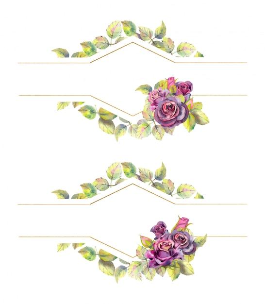 Geometryczne Złote Ramki Z Kwiatami Róży. Kompozycja Akwarela Premium Wektorów