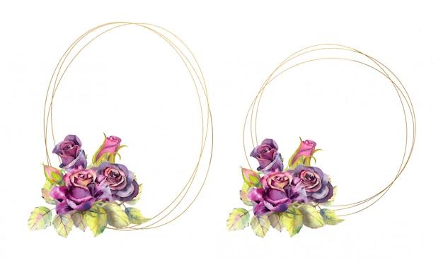 Geometryczne Złote Ramki Z Kwiatami Róży. Styl Akwareli Premium Wektorów