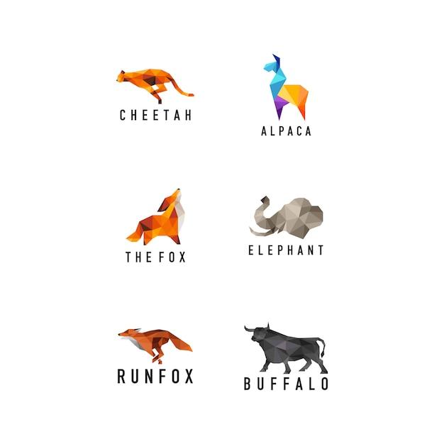 Geometryczne Zwierzęta Ustawić Logo Premium Wektorów