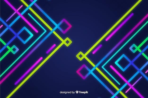 Geometryczny kolorowy neon kształtuje tło Darmowych Wektorów