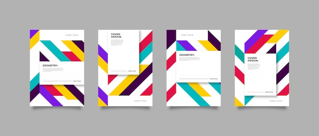 Geometryczny Kolorowy Projekt Okładki Premium Wektorów