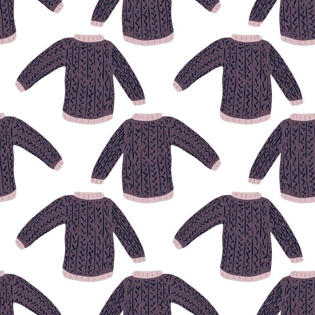 Geometryczny Sweter Doodle Wzór Bez Szwu Zimowy Strój. Białe Tło. Premium Wektorów