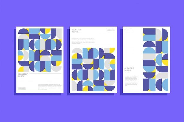 Geometryczny Wzór Okładki W Stylu Bauhaus Premium Wektorów