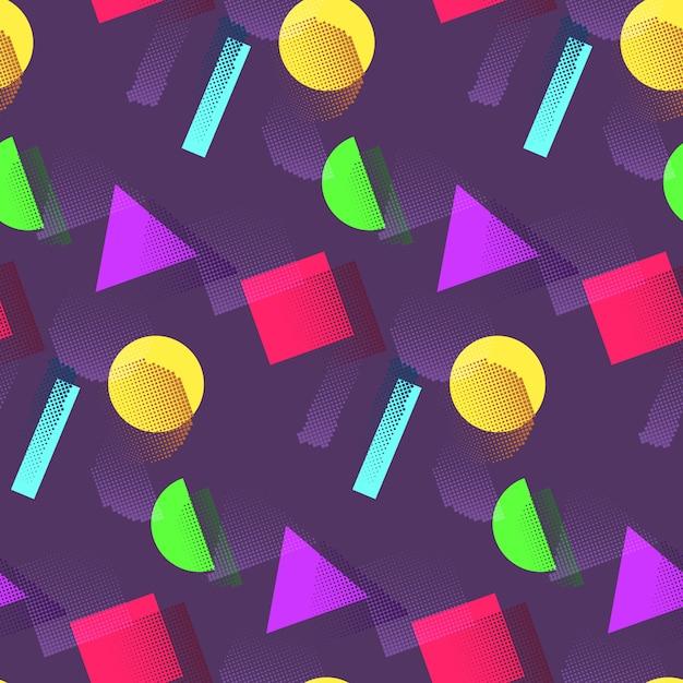 Geometryczny wzór w kolorowe kształty Premium Wektorów