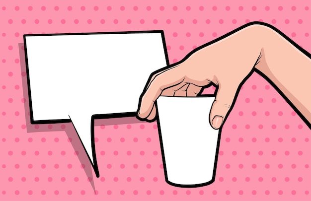 Gest Ręki Trzymaj Kubek Kawy Komiks Pop-artu Premium Wektorów